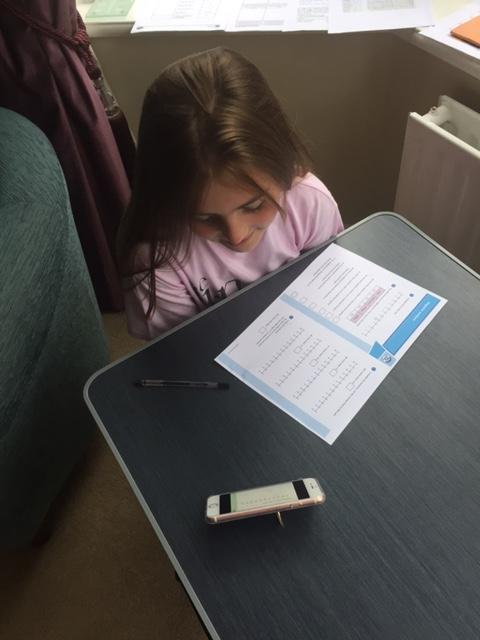 Elizabeth's working hard on negative numbers.