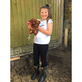 Lily with her new pet, Pixie Peck!