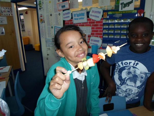 Fruit kebabs - a treat on Fridays
