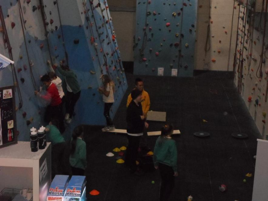 We also had team games on the climbing wall