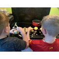 Connor & Charlie cooking dinner