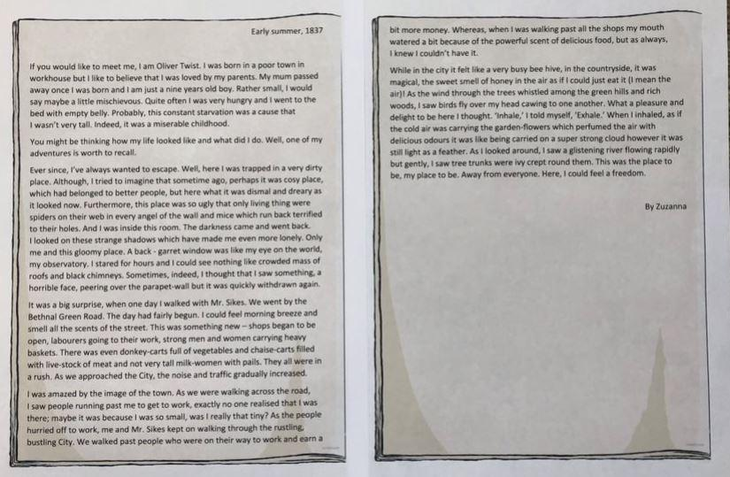 Brilliant diary entry comparing settings, Zuza!