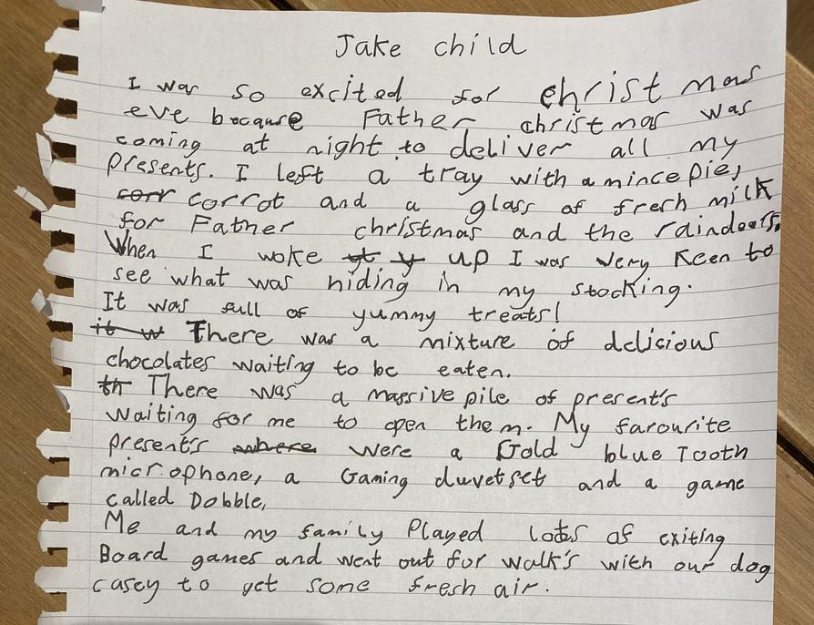 Your sentences are really clear to follow. Time openers used appropriately Jake, well done