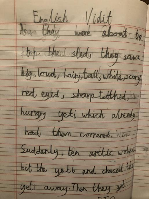 I love your description of the yeti. Well done Vidit.