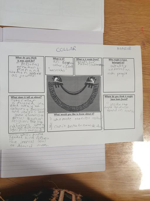 Well done for finding out interesting facts about your artefacts, Marib.