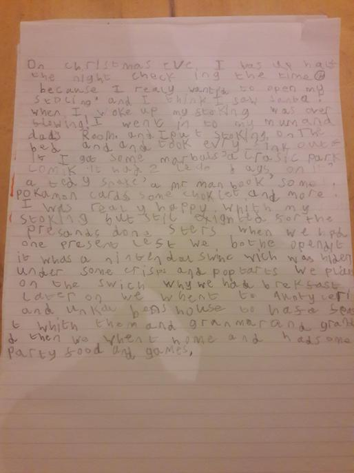 I can see you've tried really hard with your handwriting - keep it up!