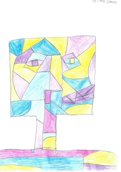 I love the way you have used all angular shapes including for the face. Well done!