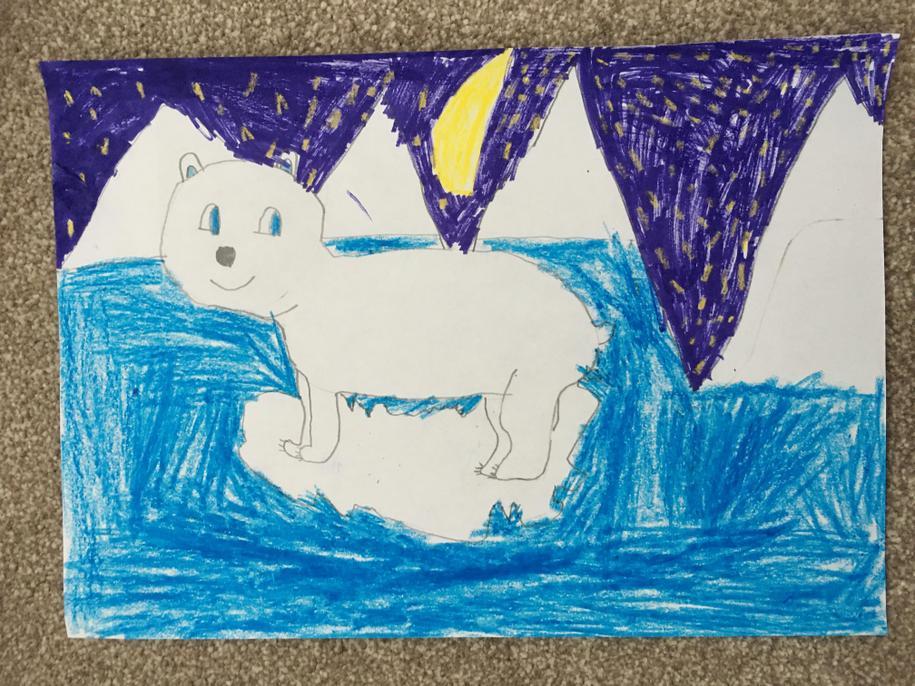 I love the icy landscape and friendly polar bear, Jack.