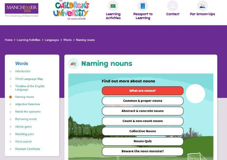 Children's University of Manchester - Naming Nouns