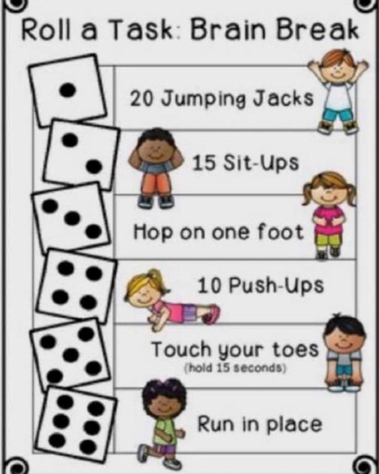 Brain break activities -all you need is a dice (3)