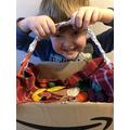 Making a basket for Grandma