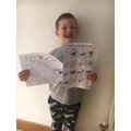 So proud of his maths and farm animal work!