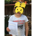 Bee writing and a super bee mask