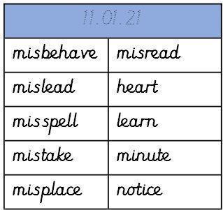 Weekly Spellings