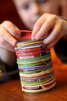 Option 1 - elastic bands on a tin