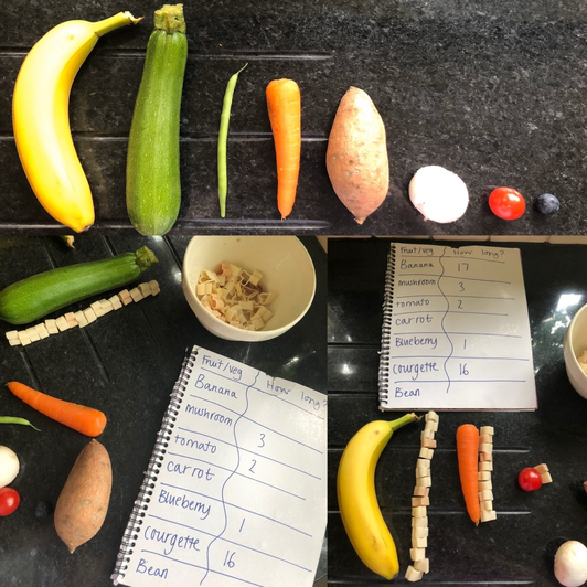 Ordering veg by size and using pasta to measure(2)