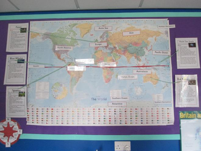 We always have a map so we can see all the different continents.