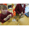 We made some bug houses and hotels using all natural materials.