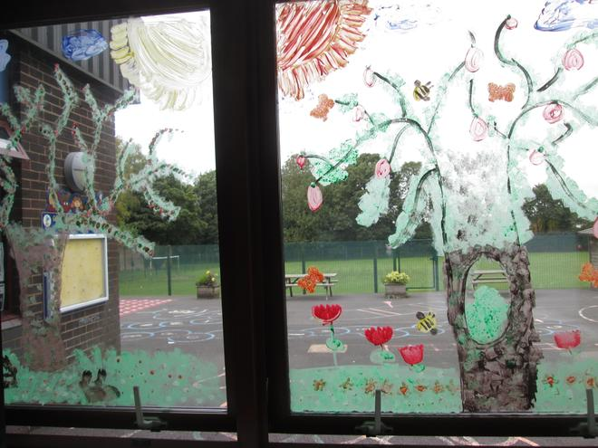 We painted the seasons on the windows...