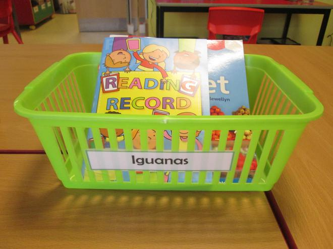 We keep our reading books in a basket.