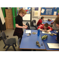 P6/7 enjoyed using the clay today to make boats..