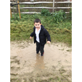 Splashing in the puddle!