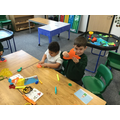 Making a fish with the Play-Doh!