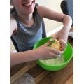 Macie making cookies