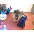We learnt how to make a spear head.