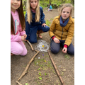 Children created volcanoes using items from the woodland.