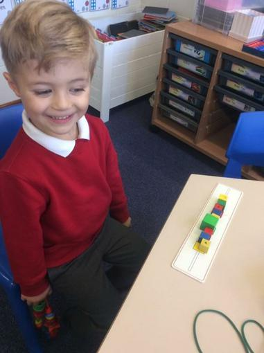 Copying patterns using beads.