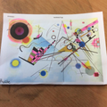 Children looked for perpendicular and parallel lines in Kandinsky's art.