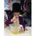 Willy Wonka busy making sweets on Roald Dahl day!