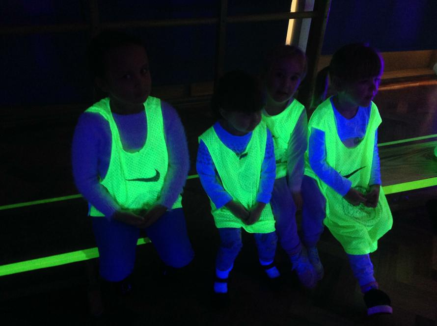 Look at our glow in the dark vests! We loved them!