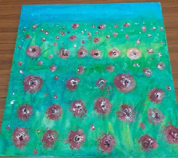A collaborative piece of art completed by Pine class.