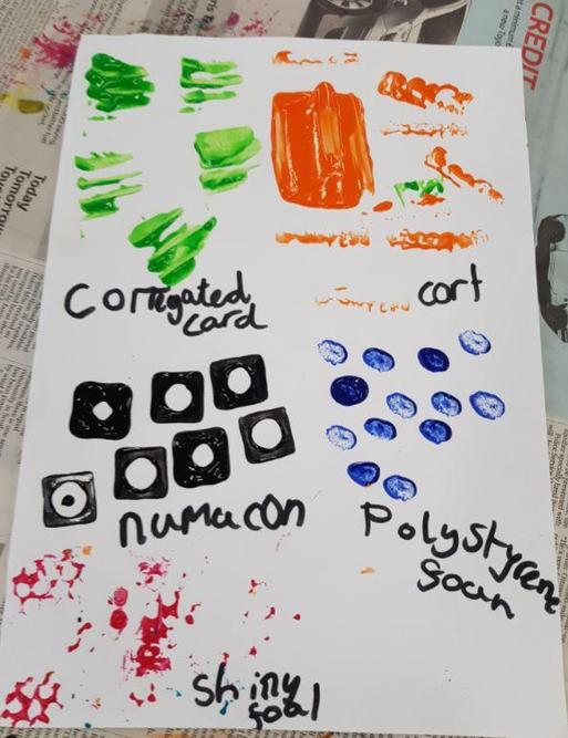 Exploration of texture using different items found in the classroom