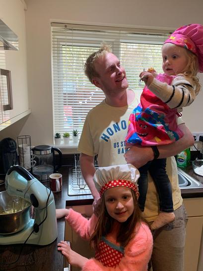 Amelia's family had fun baking together.