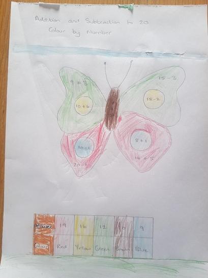 Oscar coloured his butterfly using Maths!