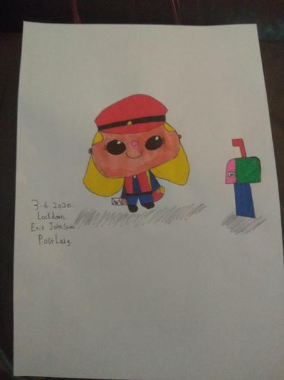 Evie drew a postwoman. 📮