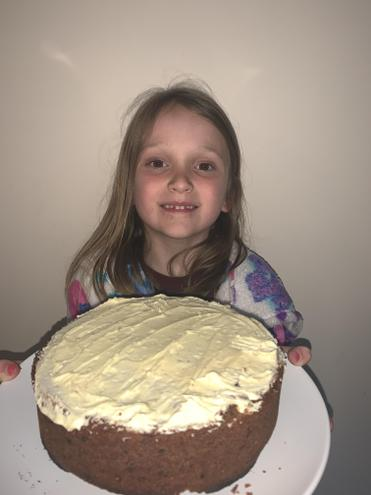 Amelia made a huge carrot cake! 🥕