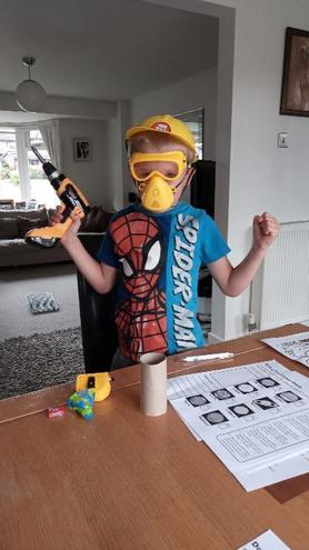 Oscar is ready to build his rocket...
