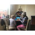 Freya enjoyed helping her sister with maths