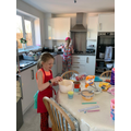 Hannah baking.