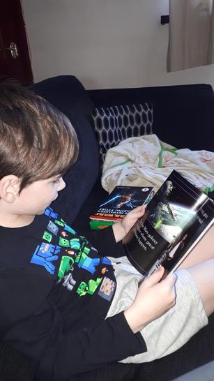 Fergus has been enjoying reading Star Wars books.
