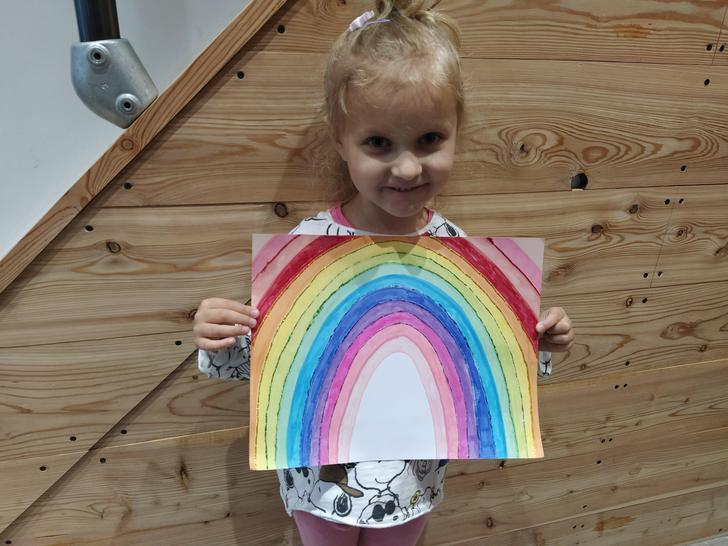 Look at Sophie's beautiful rainbow.