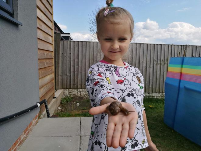Sophie found a snail to look after.