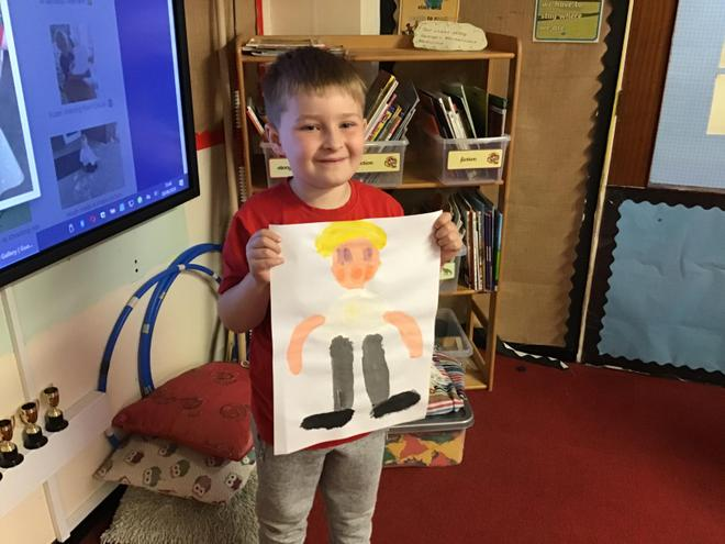 James painted a picture of himself at school 🎨