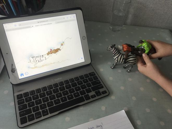 Zac recreated Roy's adventure with his toys.