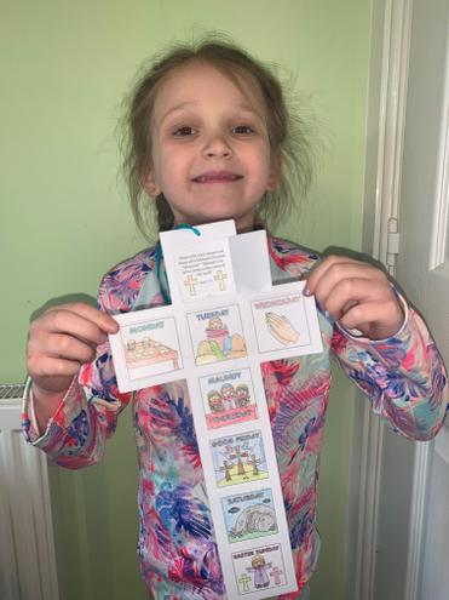 Amelia's Easter Story cross.
