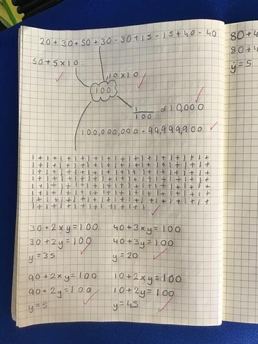 Can you create algebraic equations that give an answer of 100?